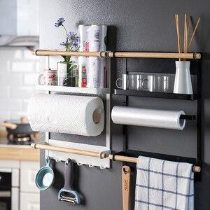 Image 1 - Магнитная адсорбционная боковая стойка для холодильника, настенная многофункциональная стойка для бумажных полотенец, стойка Органайзер