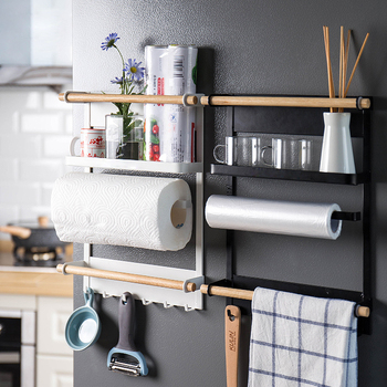 Magnetic Adsorption Refrigerator Side Rack Wall-mounted Multi-function Storage Holder Kitchen Paper Towel Shelf Rack Organizer