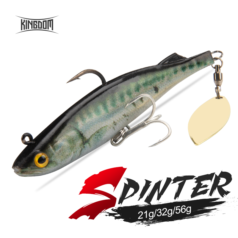 Kingdom SPINTER 2020 Fishing Lures 140mm 170mm 210mm Big Soft Swim Baits With Spoon on Tail Sinking Action 3D Printing Soft Lure