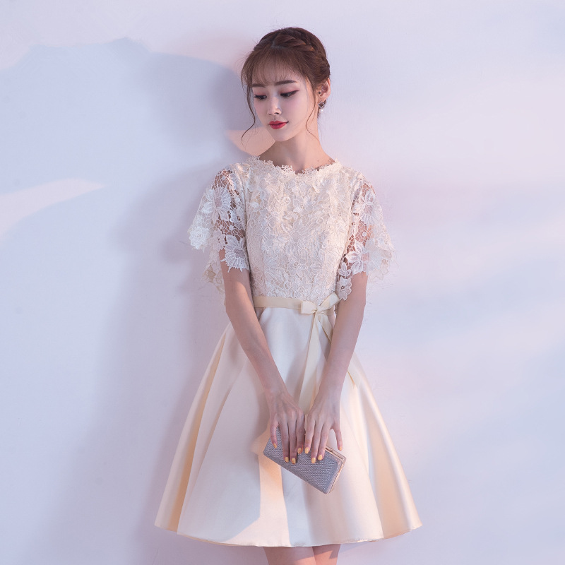 Banquet Evening Dress Women's 2019 New Style Korean-style Graduation Elegant Short Sisters Skirt Slimming Wedding Lace Bridesmai