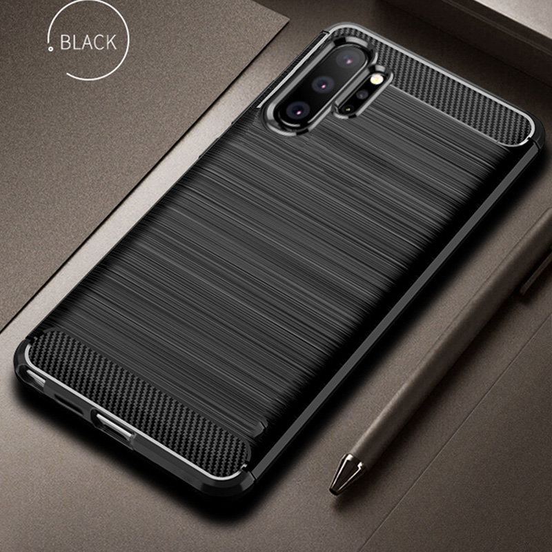 Pro Samsung Galaxy Note 10 Plus pouzdro Carbon Fiber Cover Shockproof Phone Pouzdro pro Samsung Note 10+ Cover Full Protection Bumper