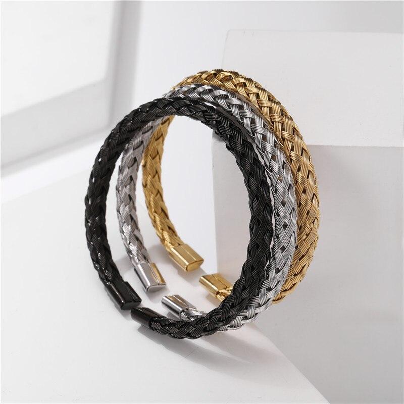 Bracelet Or/acier inoxydable titane hommes 6