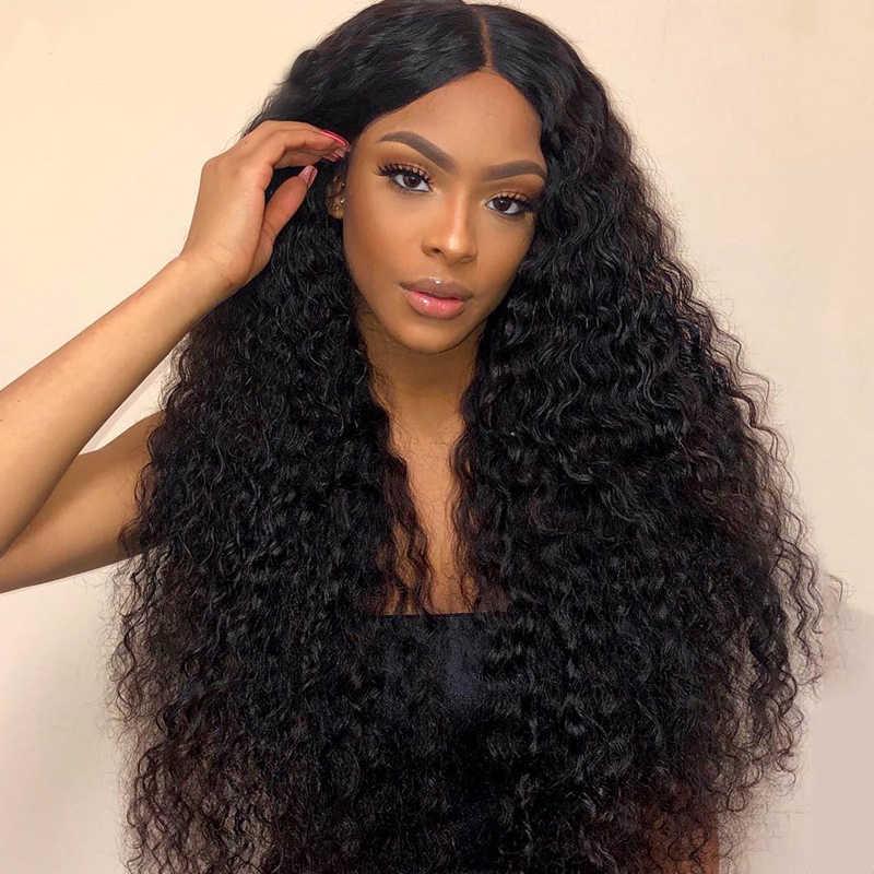 13x4 вьющиеся Синтетические волосы на кружеве парик человеческих волос парики для чернокожих Для женщин глубокая волна бесклеевой 360 Полный Синтетические волосы на кружеве al парик предварительно вырезанные водная волна