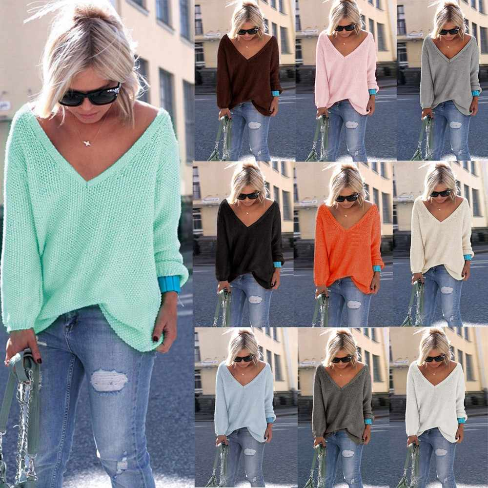 Sweater V-neck Wanita Fashion Musim Gugur Wol Kasmir Sweater Rajutan Leher V Padat Longgar Pullovers Mantel Wanita Blus Rajut Sweater