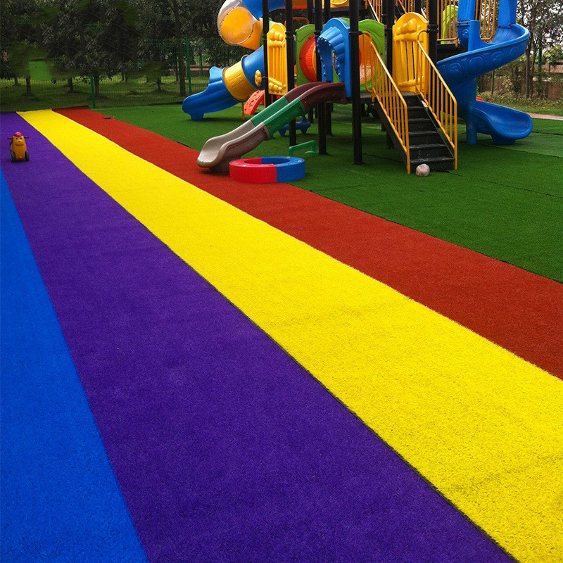 PGM Simulation Lawn Kindergarten Rainbow Grass Environmental Protection Flame Retardant Runway Grass Artificial Lawn L007