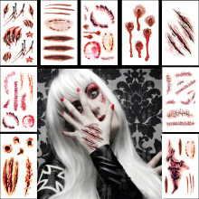 20pcs/Set Halloween Zombie Scar Tattoos Fake Scars Bloody Costume Makeup Decoration Supplies