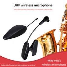 Auto emparelhamento profissional portátil estágio saxofone recarregável desempenho sensível microfone sem fio uhf transmissão