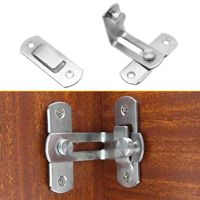 90 Degree Stainless Steel Sliding Door Chain Lock Cabinet Latch Catch Clasp