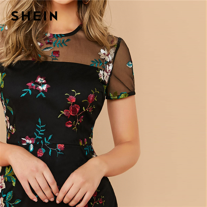 SHEIN Black Sheer Mesh Yoke Flower Embroidered Dress Women 2020 Summer Elegant Fitted High Waist Floral Short Dresses 3
