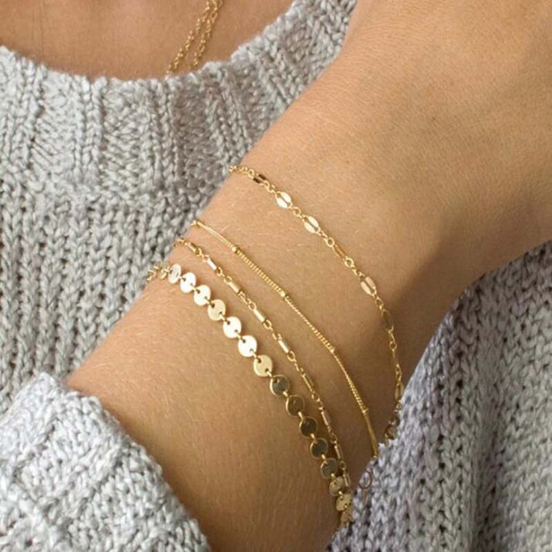 4pcs/set Bohemia Multilayer Gold <font><b>Silver</b></font> Color Coin <font><b>Tube</b></font> Lace Satellite Chain <font><b>Bracelets</b></font> For Women Foot Chain Anklets <font><b>Bracelet</b></font> image