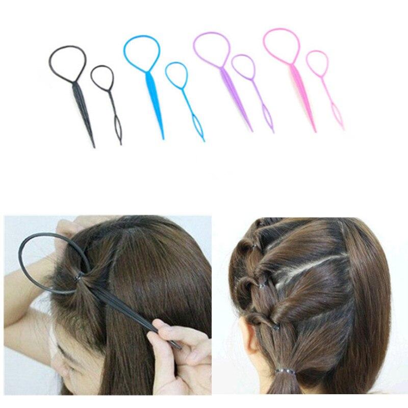 Popular 2 pcs Ponytail Creator Plastic Loop Styling Tools Black Topsy Pony topsy Tail Clip Hair Braid Maker Styling Tool Fashion(China)