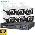 8 Мп 4K камера видеонаблюдения POE NVR система безопасности, комплект уличных купольных наружного домашнего видеонаблюдение
