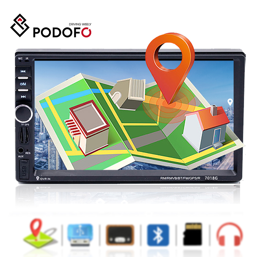 Podofo <font><b>2</b></font> <font><b>din</b></font> Car Radio <font><b>GPS</b></font> Navigation 7 Inch HD Touch Screen Bluetooth Autoradio <font><b>Multimedia</b></font> MP5 Player Video Stereo Radio <font><b>7018G</b></font> image