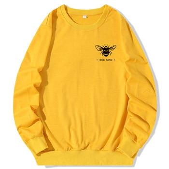 Plus Size Hoodies Women Cute Bee Print Hoodie Long Sleeve Pullovers Sweatshirt Oversized Ladies Hoody Casual Top Yellow Clothes women black white dairy cow print oversized sweatshirt plus size streetwear casual hoodies jumper top loose pullovers