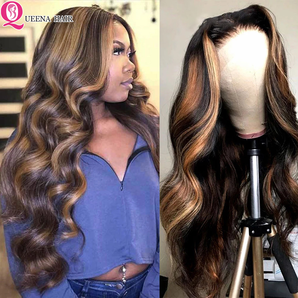 Color Highlight Wig Human Hair Brown Honey Blonde Lace Front Wig PrePlucked Body Wave Highlighted Lace Frontal Wig Brazilian Wig
