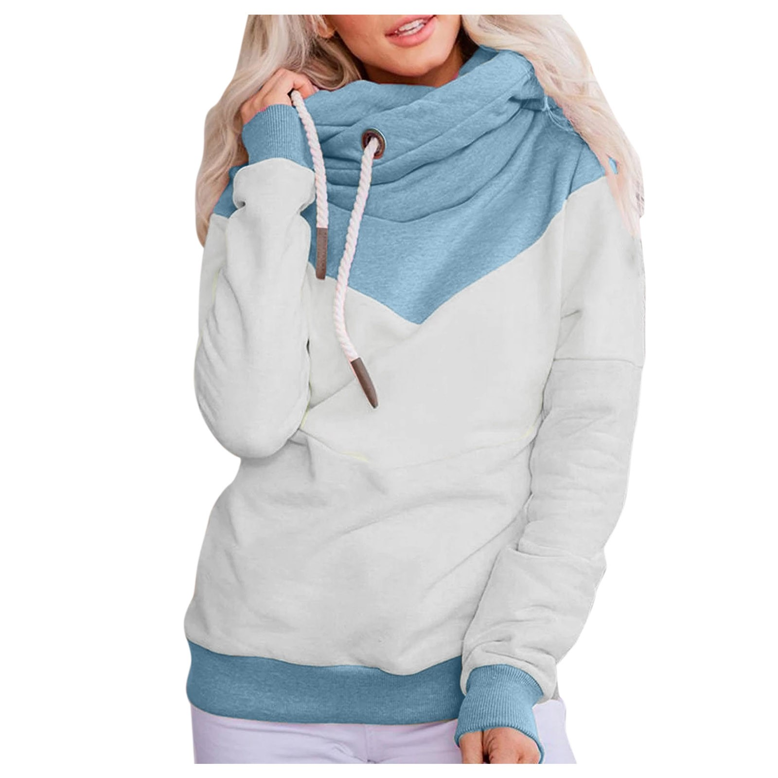 Hot Sale Women Casual Solid Contrast Long Sleeve Hoodie Sweatshirt Patchwork Printed Tops Sudaderas Mujer 2020 F Fast Ship 16