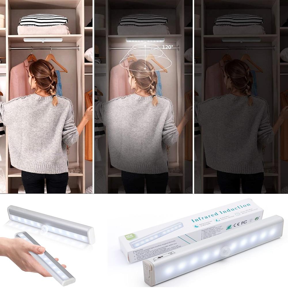 Kablosuz lamba pili Led ışık hareket sensörü ile dolap altı ışığı mutfak aydınlatma ev yatak odası ışık Led dolap renkler