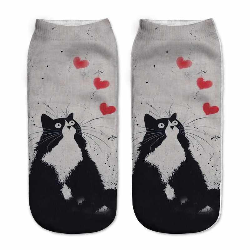 Cat Socks 3D Women's Funny Animal Socks Hot Girls Low Ankle Socks Unisex Warm Socks Casual Printed Socks Sox Cartoon For Female