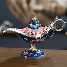 Home Zinc Alloy Oil Incense Burner Carved Decor Vintage Aladdin Lamp Arts Retro Traditional Ornaments Gift Crafts Tea Pot(China)