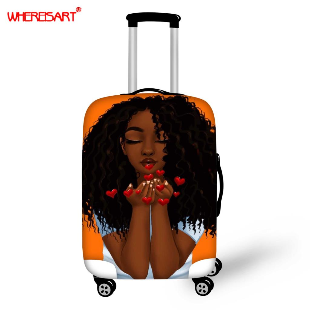 WHEREISART Afro Girls Travel Accessories Luggage Cover Suitcase Protection Baggage Dust Cover Stretch Fabrics Trunk Set Cases