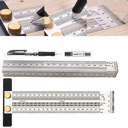 Carpintaria scribe 180-400mm t-tipo régua buraco scribing régua cruz-para fora ferramenta linha desenho marcação calibre diy ferramenta de medição