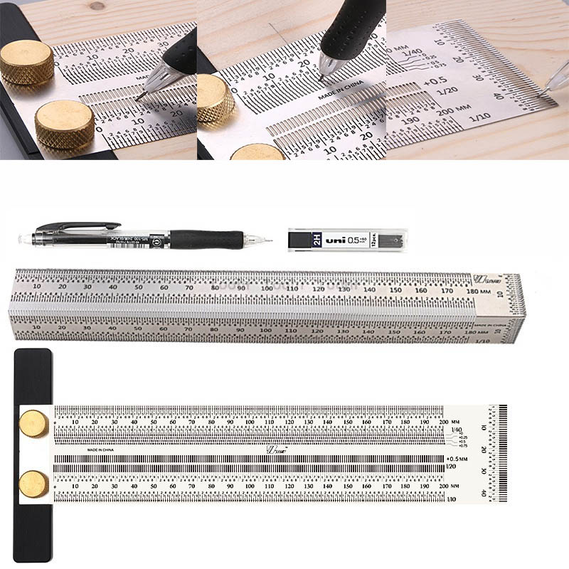 Woodworking Scribe 180-400mm T-type Ruler Hole Scribing ruler crossed-out tool Line Drawing Marking Gauge DIY Measuring Tool(China)