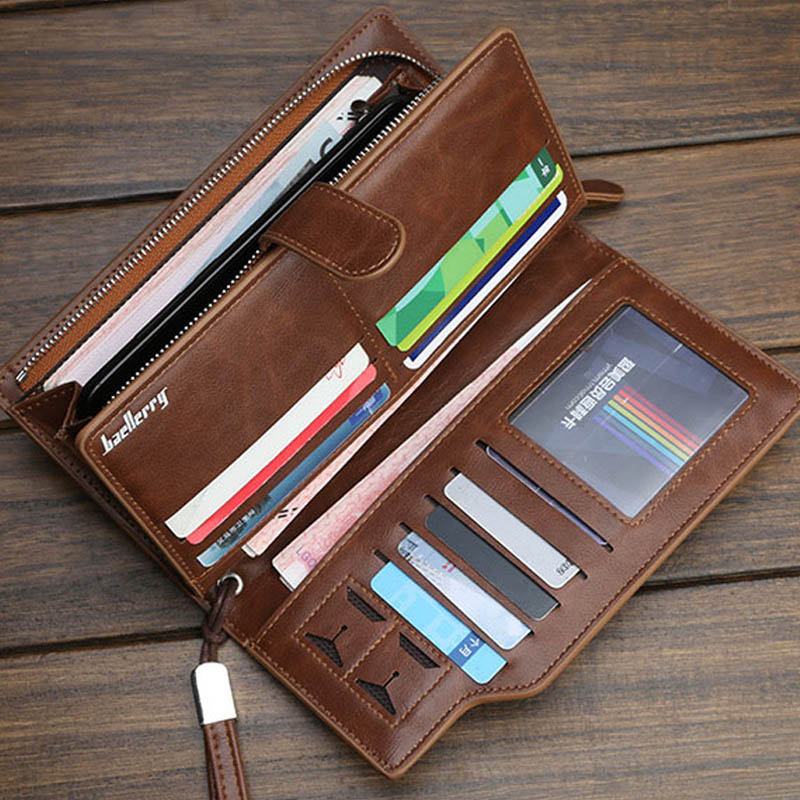 Baellerry Wallet Men Top Quality Leather Wallet Purse Vintage Long Purses Male Clutch Brand Zipper Wallets Men Multifunction Bag