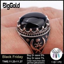 925 ayar gümüş erkek yüzük Oval siyah doğal taş yüzük erkekler için şanslı çim simetri moda Punk takı