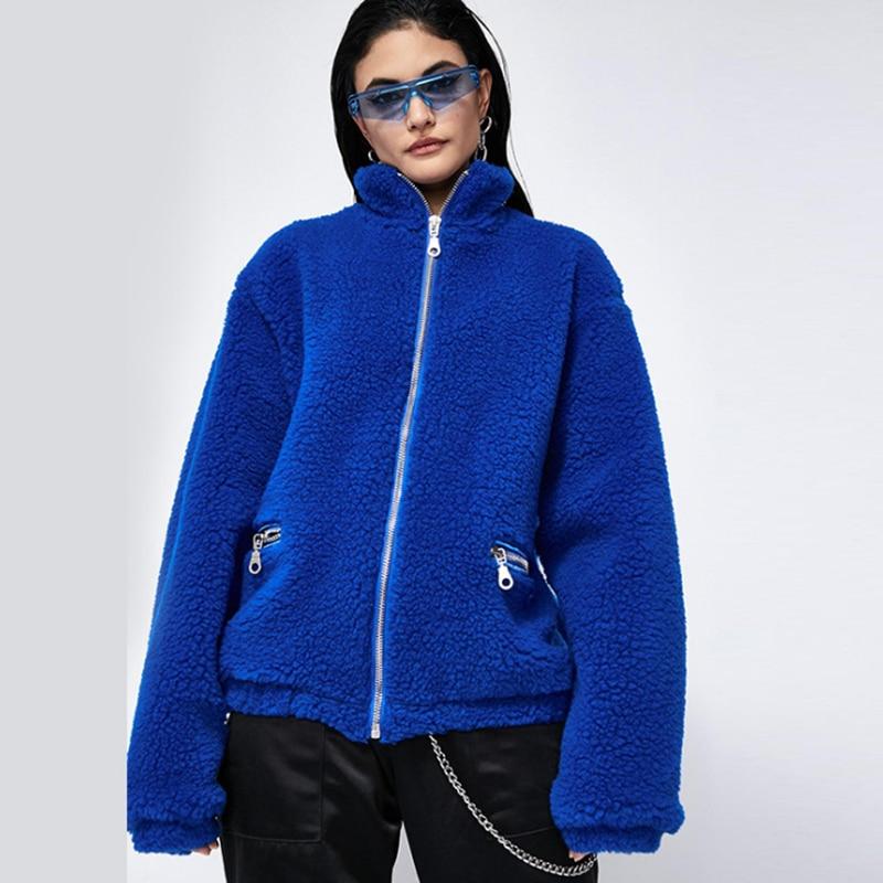 Silver Zipper Lapel Sweatshirt Fleece Fur Coat Women Autumn Winter Warm Soft Jacket Thick Plush Overcoat Short Tops Outerwear