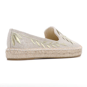 Image 5 - 2020 Hot Sale Real Flat Platform Hemp Rubber Slip on Casual Floral Zapatillas Mujer Sapatos Womens Espadrilles Flat Shoes