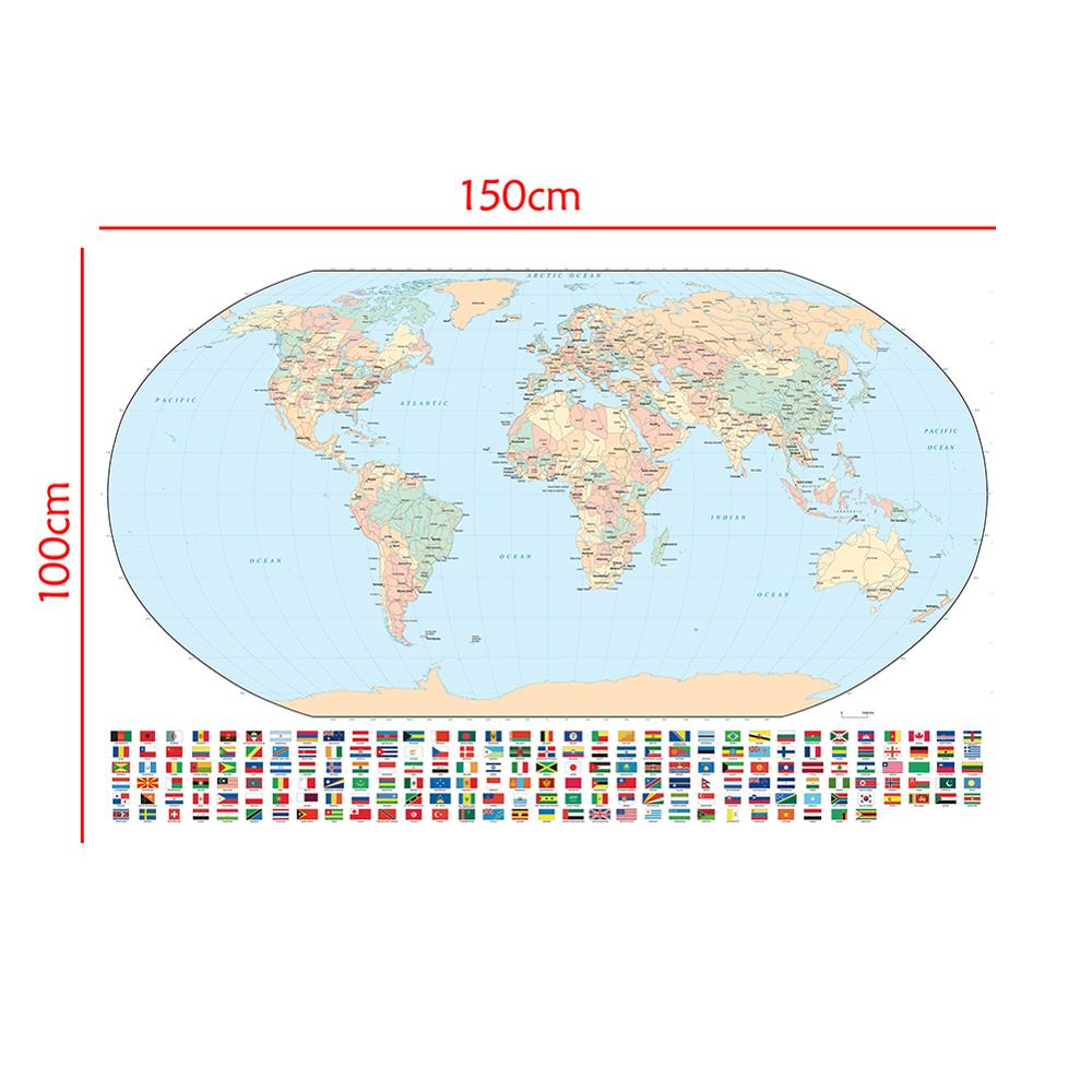 150x100cm Regular World Map Non-woven Inkjet Map With National Flags For Culture And Education
