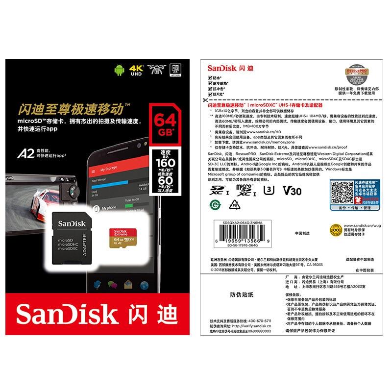 SanDisk Extreme Micro SD карта 32 Гб 64 Гб карта памяти 128 ГБ UHS-I U3 V30 A2 4K Micro SD 256 Гб 400 ГБ TF/SD карта класса 10 SDHC SDXC-5
