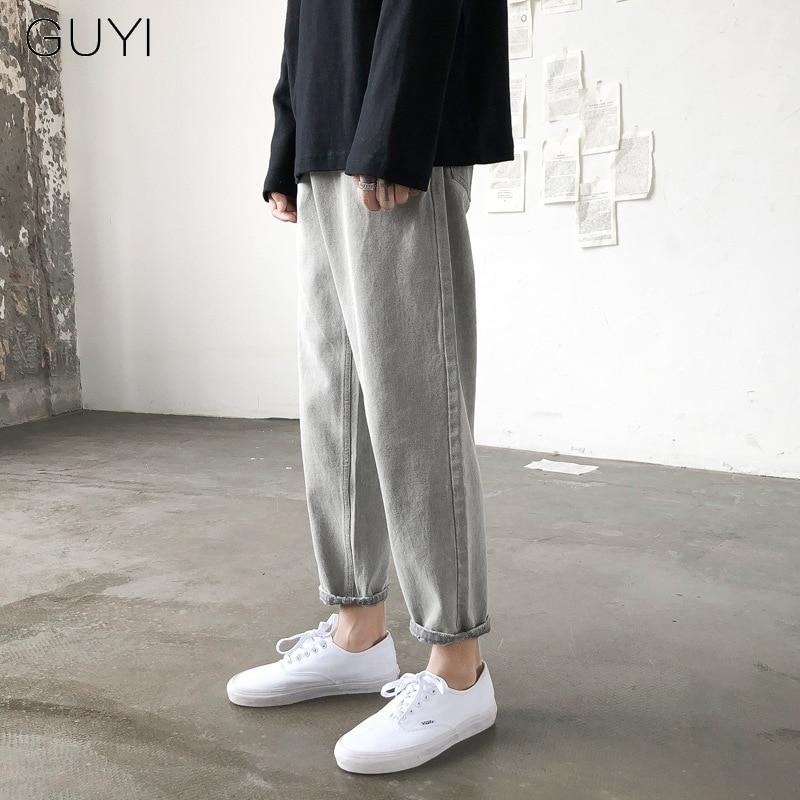 GUYI Harajuku Retro Washed Vintage Jeans Pants Men Ulzzang Lzzang Denim Trousers Male Casual Straight Jogger Pencil Streetwear
