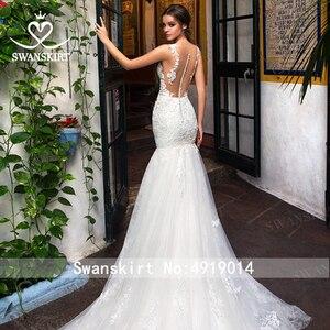 Image 4 - סקסי אפליקציות בת ים חתונת שמלה מתוקה אשליה תחרת משפט רכבת Swanskirt GI14 כלה שמלת נסיכת Vestido דה novia
