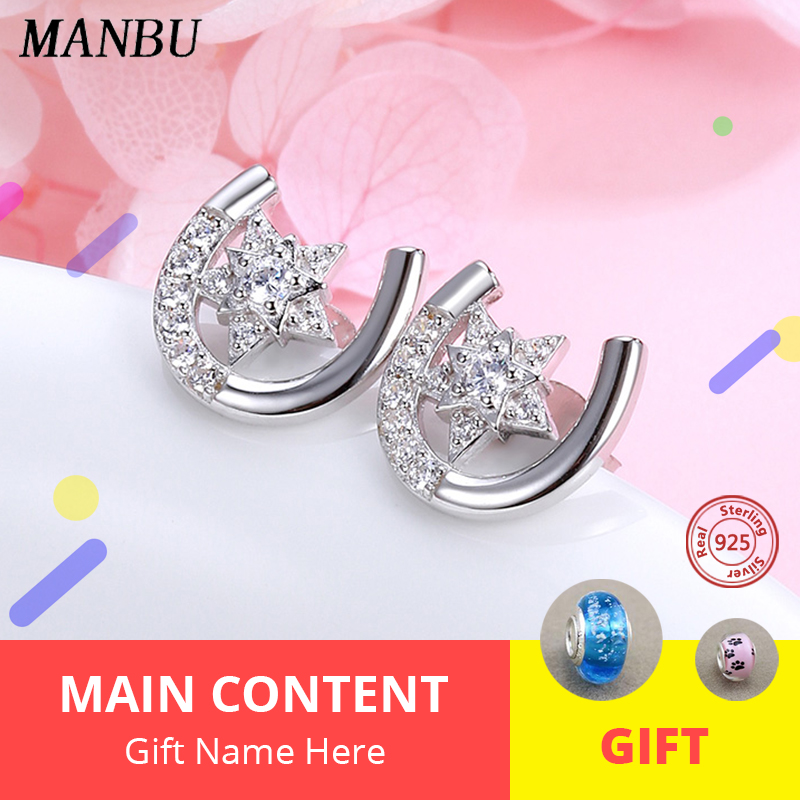 MANBU New Collection  925 sterling silver Stud Earrings U shape with star Pave Setting CZ simple trendy earrings for women gift