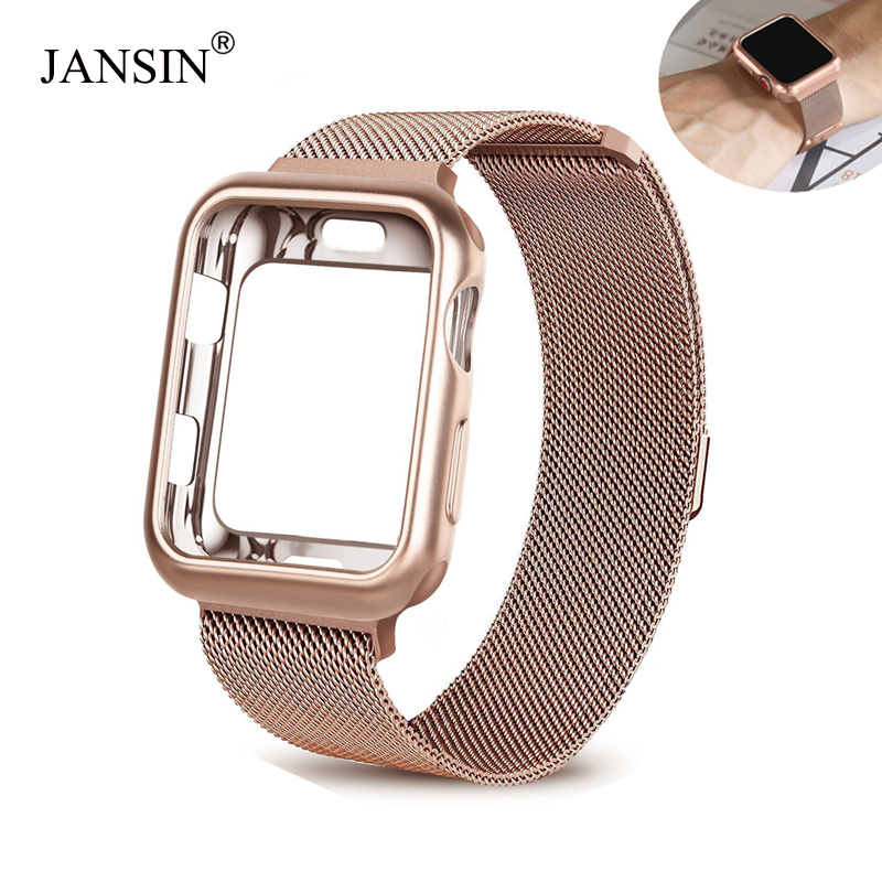 Milanese Loop band + case for Apple Watch 44mm 40mm 38mm 42mm Stainless Steel strap bracelet for iwatch series 5 4 3 2 1 bands image