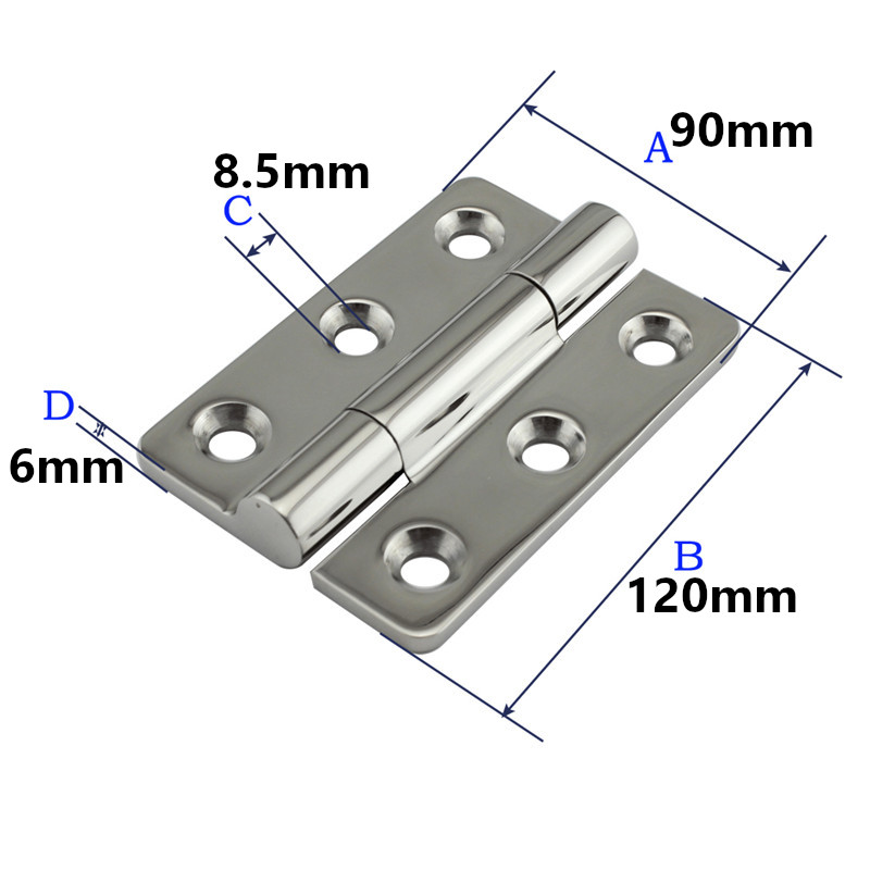 Heavy Duty Stainless steel Bearing Butt Hinge Boat Hinges for Home Door Accessories Caravan RV Deck Cabinet 120x90x6mm 6 holes(China)