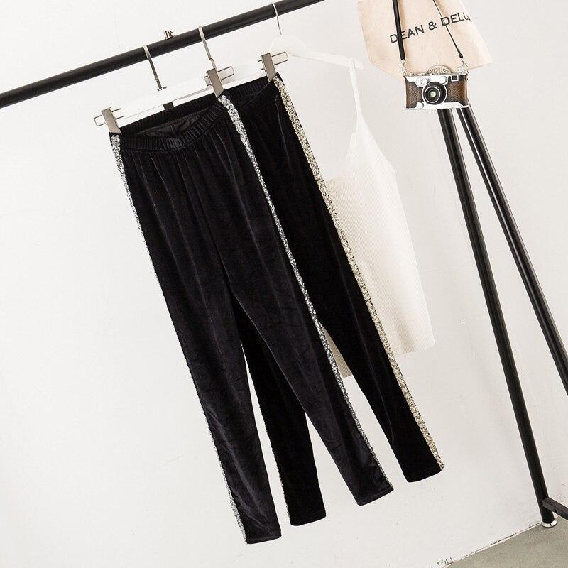Fat Size Female Dress Fat Sister Stylish Slim Golden Velvet Outside Bottom Pants In Autumn 2019