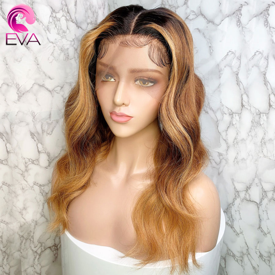 Eva Ombre Highlight 13x6 Lace Front Human Hair Wigs Pre Plucked With Baby Hair Brazilian Remy Body Wave Hair Wig For Black Women