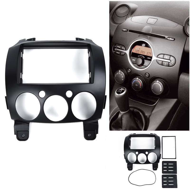 Car Stereo <font><b>Radio</b></font> Replace Cover Trim Frame Plate For <font><b>Mazda</b></font> <font><b>2</b></font>/<font><b>Demio</b></font> 2007-2014 Dash Panel <font><b>2</b></font> Din Frame Trim image