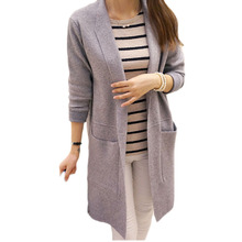 Newest Women Sweater Long Cardigan 2016 Fashion Autumn Winter Style Sleeve Loose Knitted female Sweaters Coat