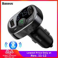 Baseus transmisor FM Bluetooth Kit de coche manos libres modulador FM coche inalámbrico Aux Radio transmisor MP3 reproductor con cargador de coche USB