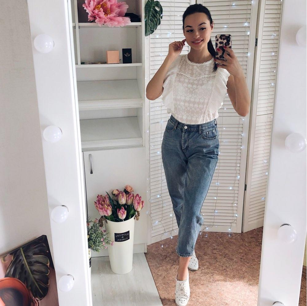 2020 New Flounce Shoulder O-Neck Embroidery Lace Blouse100% Cotton White Ruffle Sleeveless Blouses Women Summer Casual Tops
