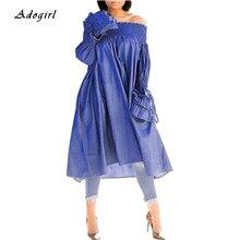 Casual Off Shoulder Denim Dress Elegant Ruffles Long Sleeve Loose Womens Autumn Fashion Blue Women Vestidos