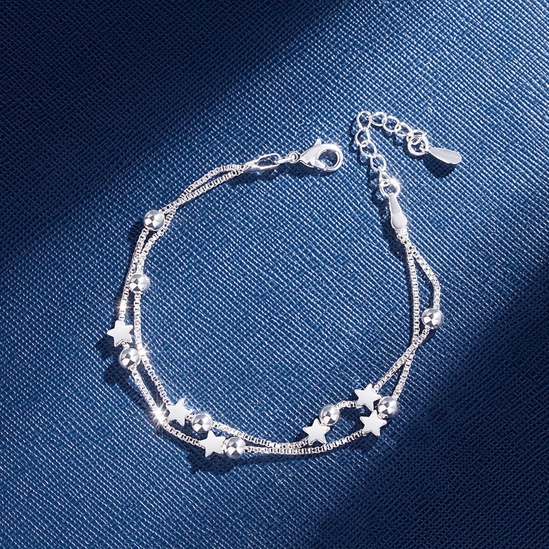 925 Sterling Silver Bracelets Double Layered Stars Beads Chian Bracelets & Bangles For Women Girls Wedding Jewelry