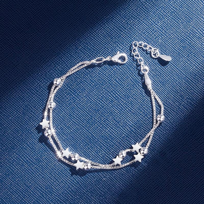 925 Sterling Silver Bracelets Double Layered Stars Beads Chian Bracelets & Bangles For Women Girls Wedding Jewelry