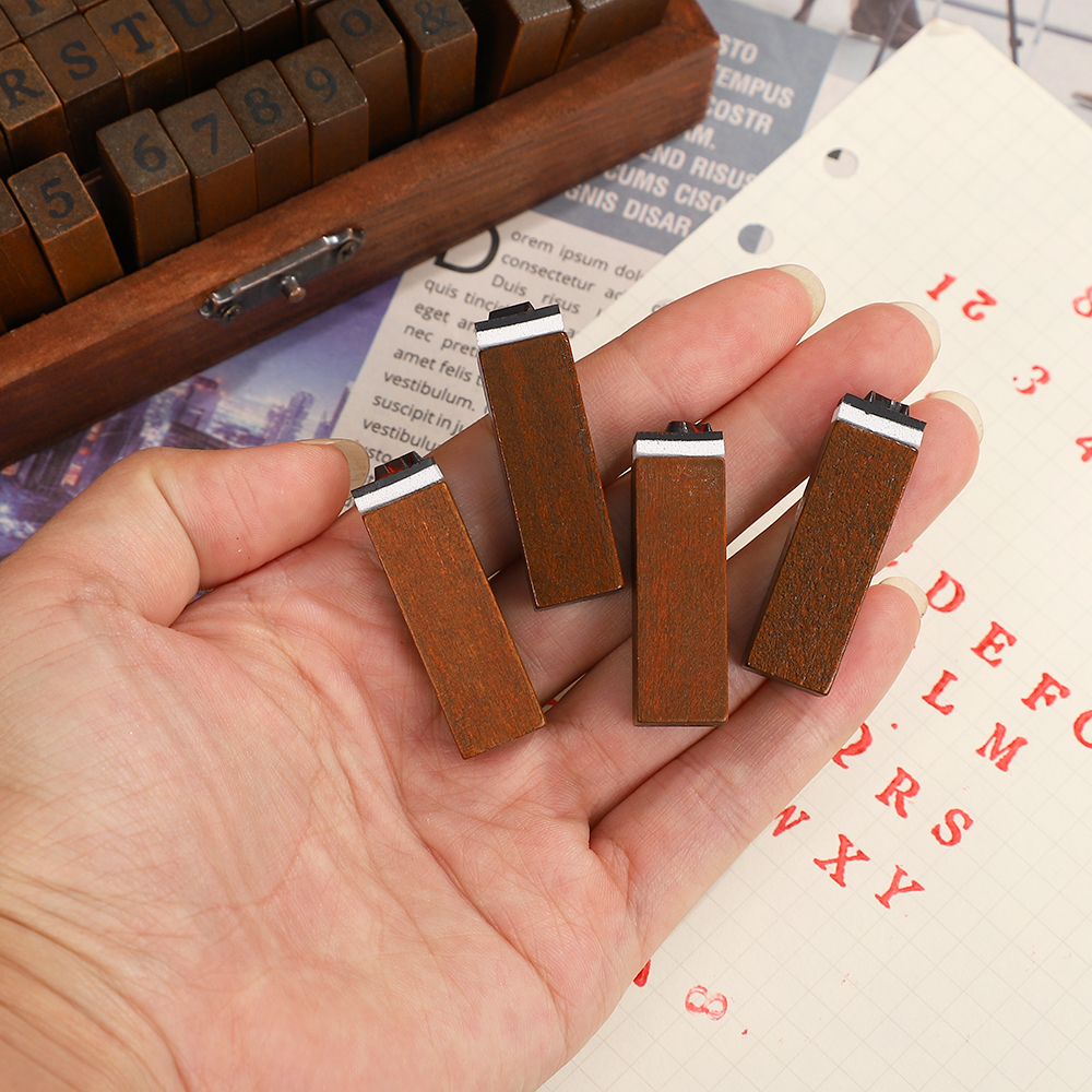 JIANWU Multiple Vintage Trend Series Wooden Journal Stamps Creative Letters And Numbers Seal DIY Student Stationery Supplies 6