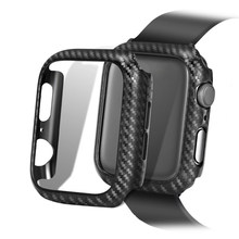 Funda de fibra de carbono para Apple Watch 4 3 para IWatch Band 42mm/38mm 44mm/40 cubierta de Marco ultrafina protectora de la pantalla del parachoques mm(China)
