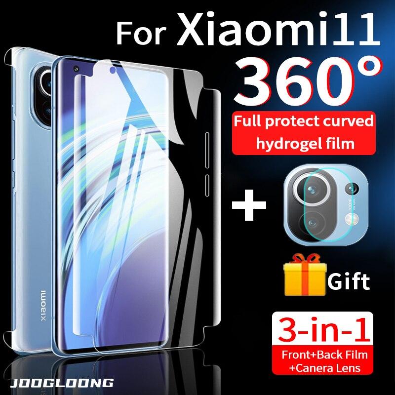 360 cobertura de borda completa filme de hidrogel para xiaomi mi 11 protetor de tela para mi 10 pro ultra t lite volta câmera de vidro protetor