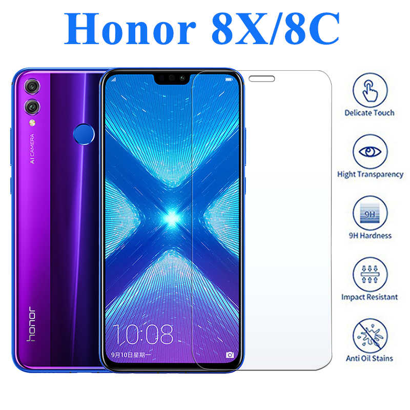 Honor 8x 8c สำหรับ Huawei 8s 8lite Huawei X8 กระจกนิรภัยป้องกันฟิล์มโทรศัพท์ Huawei c8 Glas ป้องกัน